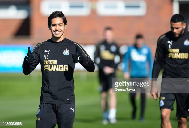 Yoshinori Muto gives the thumbs up during the Newcastle United Training session at the Newcastle United Training Centre on March 29 2019 in Newcastle...