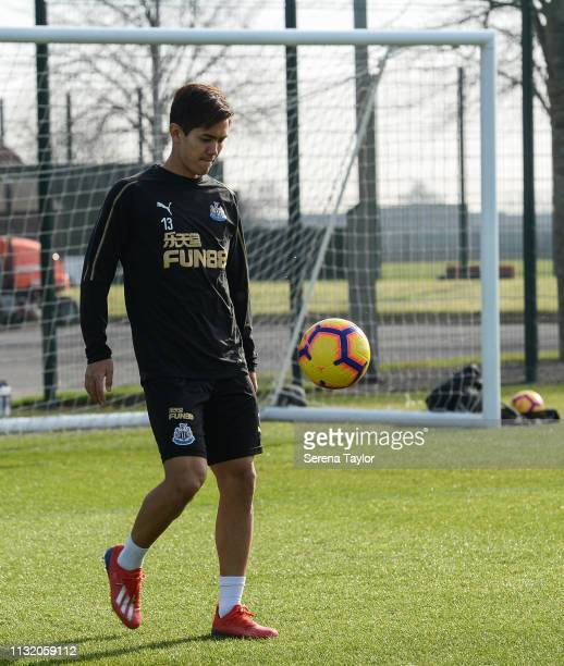 Yoshinori Muto juggles the ball during the Newcastle United Training Session at the Newcastle United Training Centre on February 25 2019 in Newcastle...