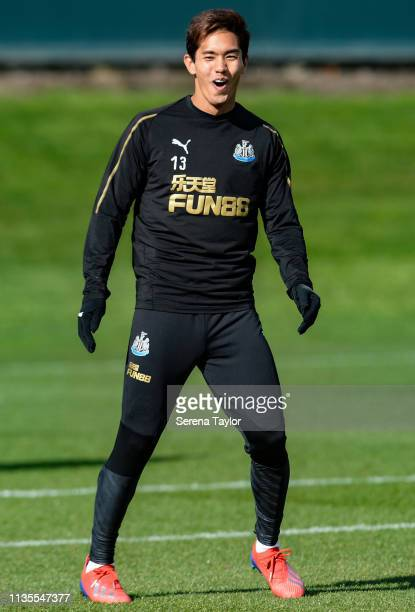 Yoshinori Muto laughs during the Newcastle United Training Session at the Newcastle United Training Centre on March 13 2019 in Newcastle upon Tyne...