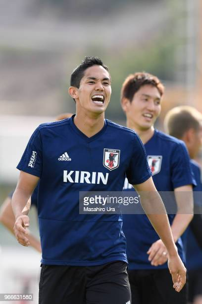 Yoshinori Muto looks on during a training session on June 3 2018 in Seefeld Austria