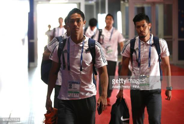 Yoshinori Muto of Japan arrives at the stadium prior to the 2018 FIFA World Cup Russia group H match between Colombia and Japan at Mordovia Arena on...