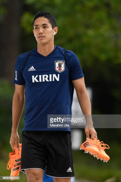 Yoshinori Muto of Japan arrives for a training session on June 6 2018 in Seefeld Austria