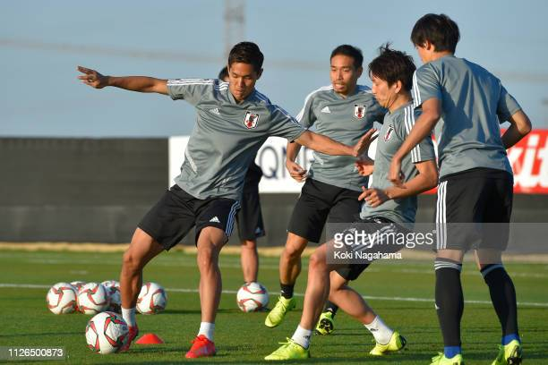 Yoshinori Muto of Japan attends the traning session at Cricket training site 2 on January 31 2019 in Abu Dhabi United Arab Emirates