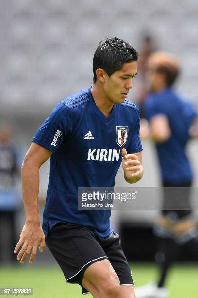 Yoshinori Muto of Japan in action during a training session ahead of the international friendly match between Japan and Paraguay at Tivoli Stadion on...