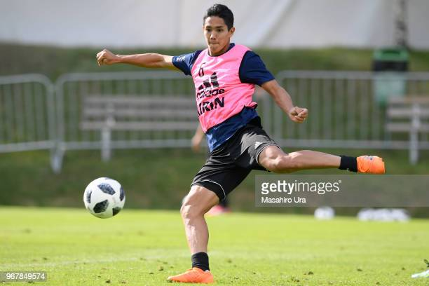 Yoshinori Muto of Japan in action during a training session on June 5 2018 in Seefeld Austria