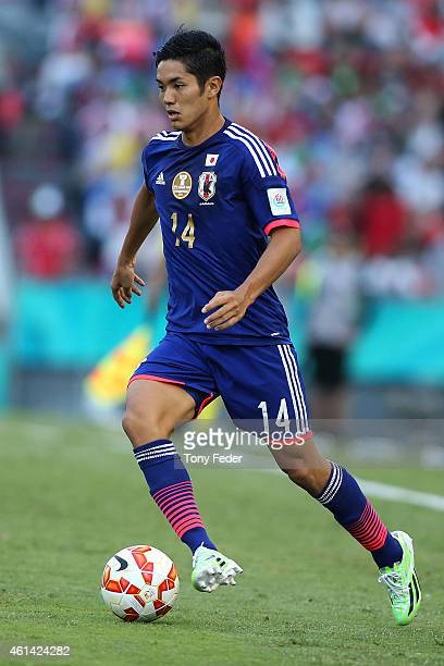 Yoshinori Muto of Japan in action during the 2015 Asian Cup match between Japan and Palestine at Hunter Stadium on January 12 2015 in Newcastle...