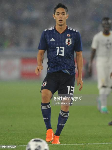 Yoshinori Muto of Japan in action during the international friendly match between Japan and Ghana at Nissan Stadium on May 30 2018 in Yokohama...