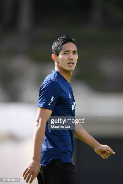 Yoshinori Muto of Japan looks on during a training session on June 5 2018 in Seefeld Austria