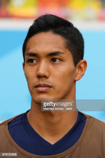 Yoshinori Muto of Japan looks on from the bench prior to he 2018 FIFA World Cup Russia group H match between Colombia and Japan at Mordovia Arena on...