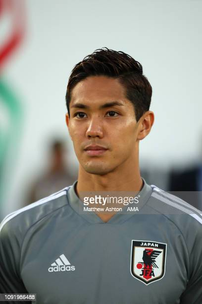 Yoshinori Muto of Japan looks on prior to the AFC Asian Cup final match between Japan and Qatar at Zayed Sports City Stadium on February 1 2019 in...