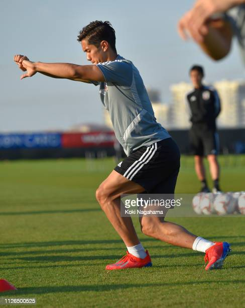Yoshinori Muto of Japan warms up during the training session at Cricket training site 2 on January 31 2019 in Abu Dhabi United Arab Emirates