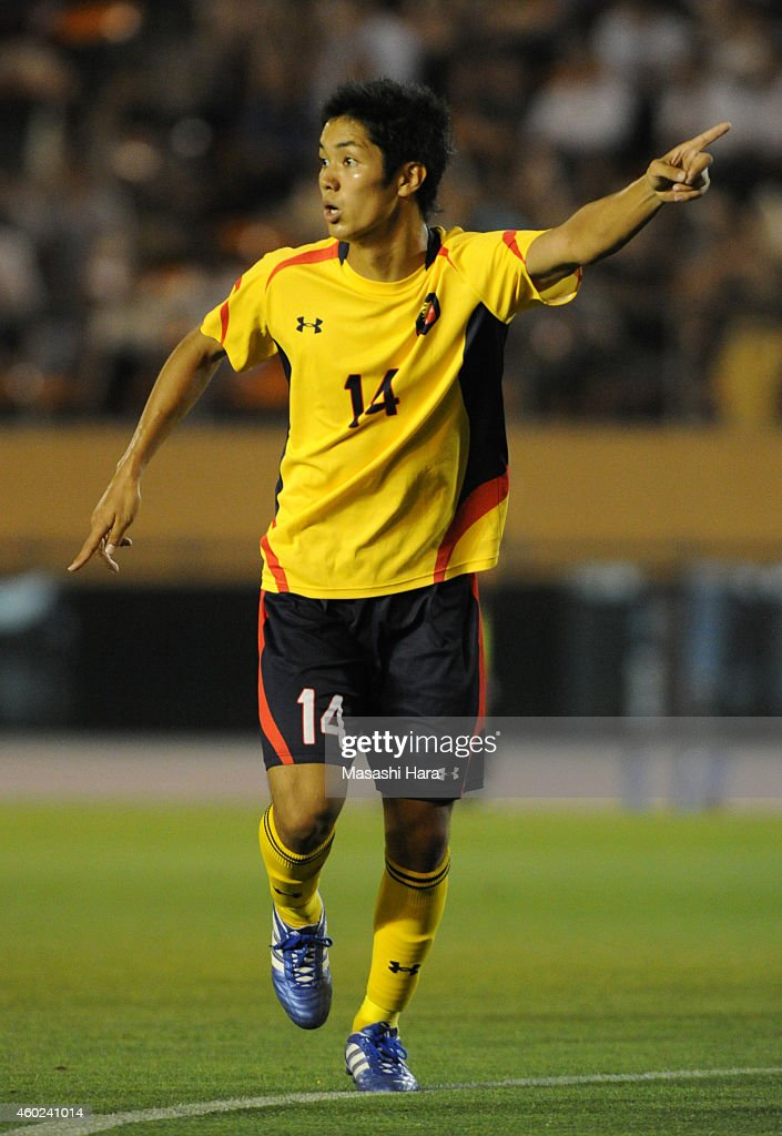 Yoshinori Muto of Keio University in action during the match against Waseda University at the National Stadium on July 4, 2012 in Tokyo, Japan.