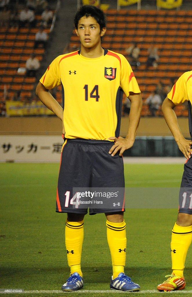 Yoshinori Muto of Keio University lines up prior to the match against Waseda University at the National Stadium on July 4, 2012 in Tokyo, Japan.