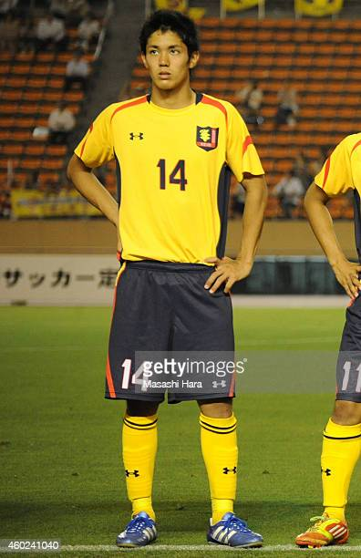 Yoshinori Muto of Keio University lines up prior to the match against Waseda University at the National Stadium on July 4 2012 in Tokyo Japan