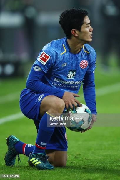 Yoshinori Muto of Mainz appears frustrated during the Bundesliga match between Hannover 96 and 1 FSV Mainz 05 at HDIArena on January 13 2018 in...