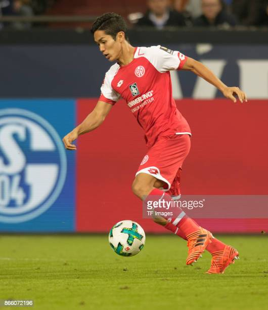 Yoshinori Muto of Mainz controls the ball during the Bundesliga match between FC Schalke 04 and 1 FSV Mainz 05 at VeltinsArena on October 20 2017 in...