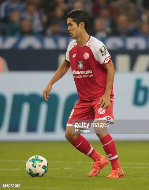 Yoshinori Muto of Mainz in action during the Bundesliga match between FC Schalke 04 and 1 FSV Mainz 05 at VeltinsArena on October 20 2017 in...