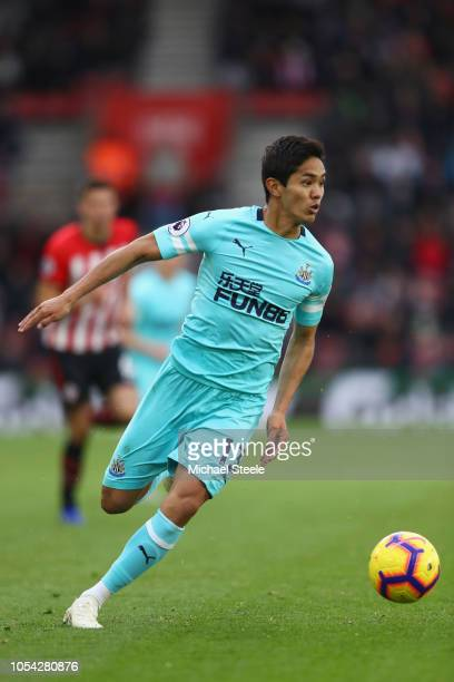 Yoshinori Muto of Newcastle during the Premier League match between Southampton FC and Newcastle United at St Mary's Stadium on October 27 2018 in...
