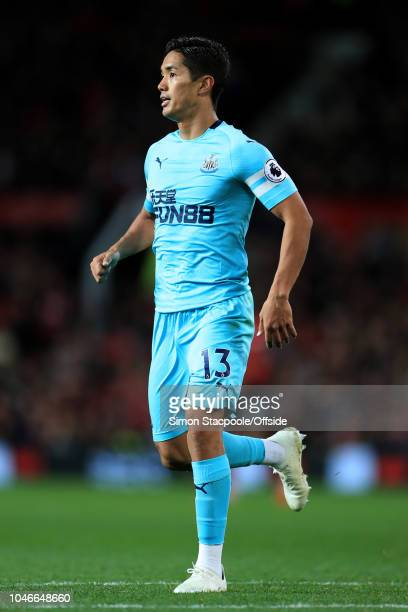 Yoshinori Muto of Newcastle in action during the Premier League match between Manchester United and Newcastle United at Old Trafford on October 6...