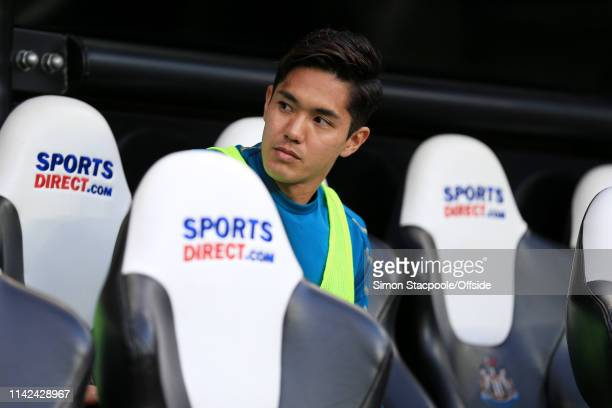 Yoshinori Muto of Newcastle starts as a substitute for the Premier League match between Newcastle United and Liverpool at St James' Park on May 4...
