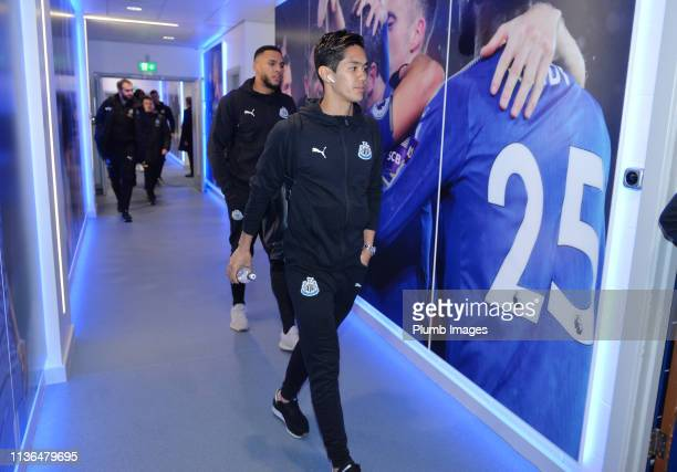 Yoshinori Muto of Newcastle United arrives ahead of the Premier League match between Leicester City and Newcastle United at The King Power Stadium on...