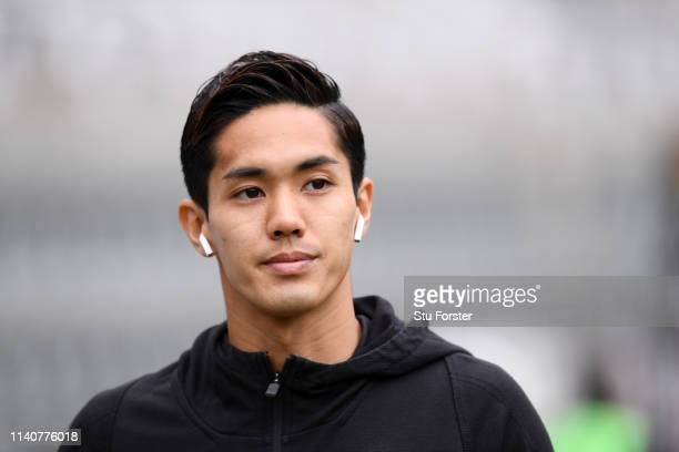 Yoshinori Muto of Newcastle United arrives at the stadium prior to the Premier League match between Newcastle United and Crystal Palace at St James...