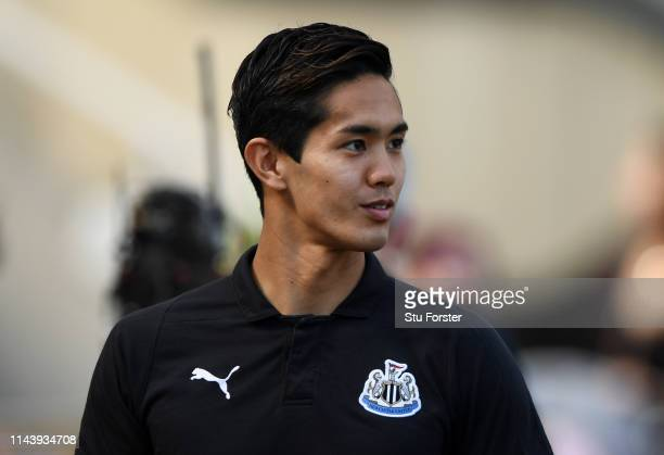 Yoshinori Muto of Newcastle United arrives at the stadium prior to the Premier League match between Newcastle United and Southampton FC at St James...
