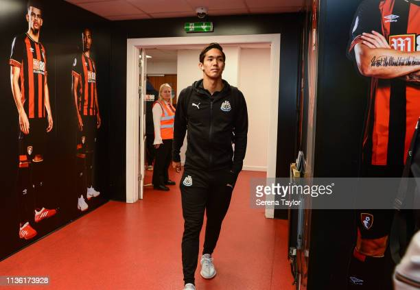 Yoshinori Muto of Newcastle United arrives for the Premier League match between AFC Bournemouth and Newcastle United at Vitality Stadium on March 16...
