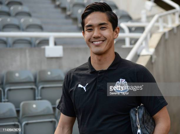 Yoshinori Muto of Newcastle United arrives for the Premier League match between Newcastle United and Southampton FC at St James Park on April 20 2019...