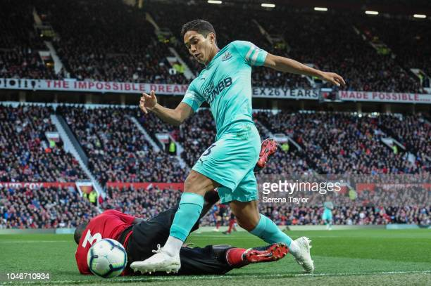 Yoshinori Muto of Newcastle United controls the ball during the Premier League match between Manchester United and Newcastle United at Old Trafford...