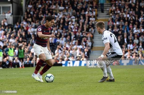 Yoshinori Muto of Newcastle United controls the ball during the Premier League match between Fulham FC and Newcastle United at Craven Cottage on May...