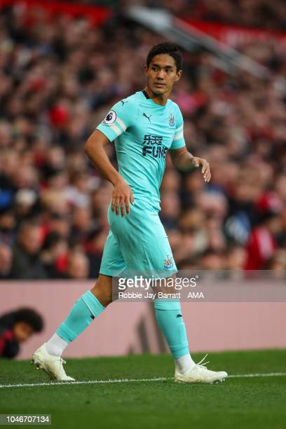 Yoshinori Muto of Newcastle United during the Premier League match between Manchester United and Newcastle United at Old Trafford on October 6 2018...