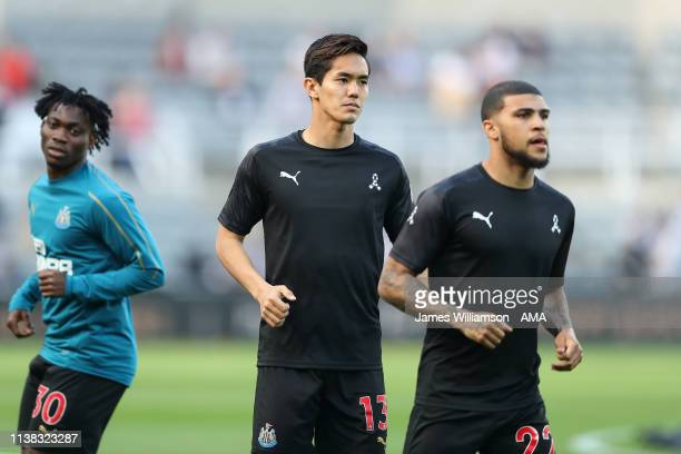 Yoshinori Muto of Newcastle United during the Premier League match between Newcastle United and Southampton FC at St James Park on April 20 2019 in...