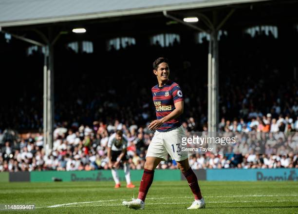 Yoshinori Muto of Newcastle United during the Premier League match between Fulham FC and Newcastle United at Craven Cottage on May 12 2019 in London...
