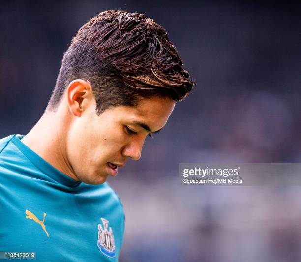 Yoshinori Muto of Newcastle United looks on during the Premier League match between Newcastle United and Crystal Palace at St James Park on April 6...
