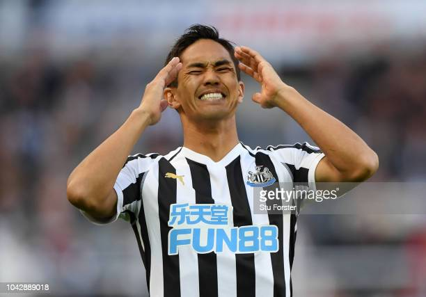 Yoshinori Muto of Newcastle United reacts after missing a chance on goal during the Premier League match between Newcastle United and Leicester City...