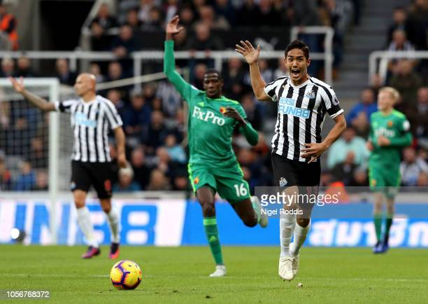 Yoshinori Muto of Newcastle United reacts during the Premier League match between Newcastle United and Watford FC at St James Park on November 3 2018...