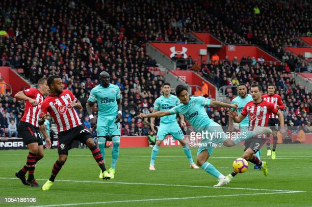 Yoshinori Muto of Newcastle United strikes the ball during the Premier League Match between Southampton FC and Newcastle United at StMary's Stadium...