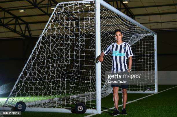 Yoshinori Muto poses for photos during a photocall at the Newcastle United Training Centre on July 27 in Newcastle upon Tyne, England.