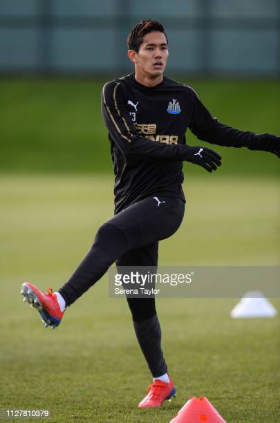 Yoshinori Muto warms up during the Newcastle United Training Session at the Newcastle United Training Centre on February 06 2019 in Newcastle upon...