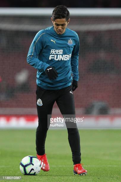 Yoshinori Muto warms up prior to the Premier League match between Arsenal and Newcastle United at the Emirates Stadium London on Monday 1st April...