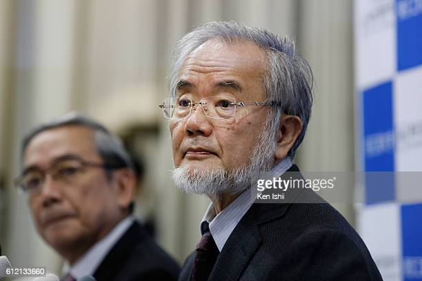 Yoshinori Ohsumi attends a press conference at Tokyo Institute of Technology on October 3 2016 in Tokyo Japan The 2016 Nobel Prize for...