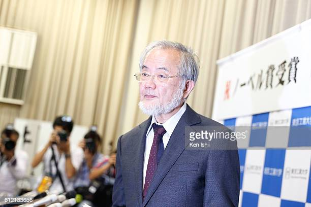 Yoshinori Ohsumi attends a press conference on October 3 2016 in Tokyo Japan The 2016 Nobel Prize for physiology/medicine was awarded to Yoshinori...