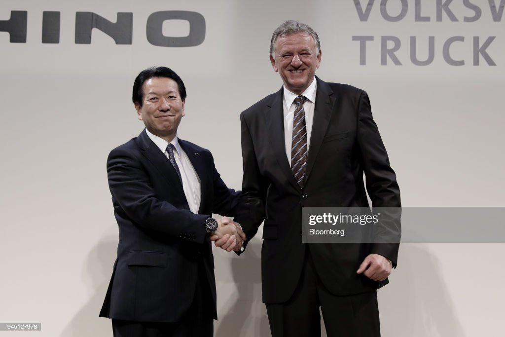 Volkswagen Truck & Bus GmbH and Hino Motors Hold News Conference Announcing Partnership in Electric and Autonomous Tech : News Photo