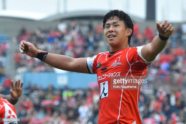 Yoshitaka Tokunaga applauds fans after winning the Super Rugby Rd 7 match between Sunwolves v Bulls at Prince Chichibu Memorial Ground on April 8...
