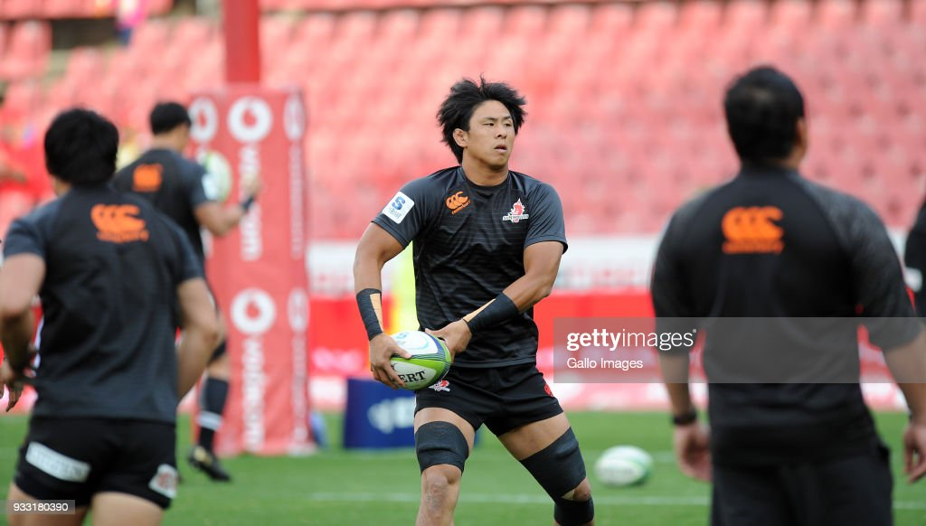 Yoshitaka Tokunaga of Sunwolves warming up during the Super Rugby match between Emirates Lions and Sunwolves at Emirates Airline Park on March 17, 2018 in Johannesburg, South Africa.