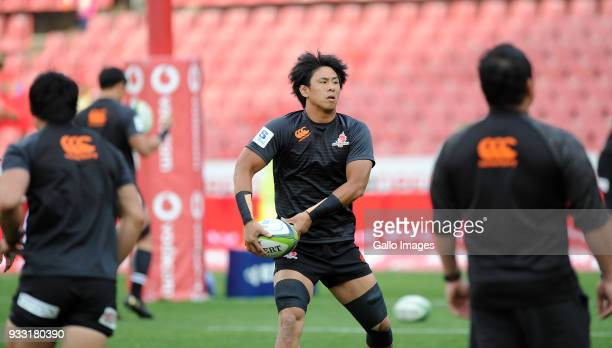 Yoshitaka Tokunaga of Sunwolves warming up during the Super Rugby match between Emirates Lions and Sunwolves at Emirates Airline Park on March 17...