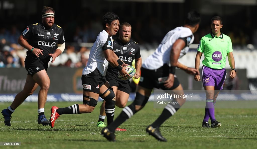 Yoshitaka Tokunaga of the HITO-Communications Sunwolves during the Super Rugby match between Cell C Sharks and Sunwolves at Jonsson Kings Park Stadium on March 10, 2018 in Durban, South Africa.