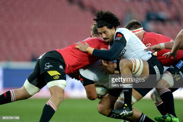 Yoshitaka Tokunaga of the Sunwolves supporting a teammate during the Super Rugby match between Emirates Lions and Sunwolves at Emirates Airline Park...