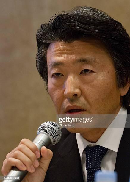 Yoshiteru Suzuki, president of Cerberus Capital Management LP Japan, speaks during a news conference in Tokyo, Japan, on Friday, April 5, 2013....